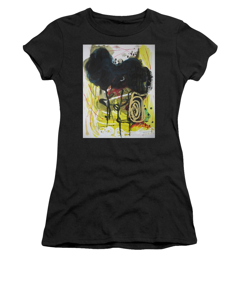Abstract Paintings Women's T-Shirt (Athletic Fit) featuring the painting Crescent2 by Seon-Jeong Kim