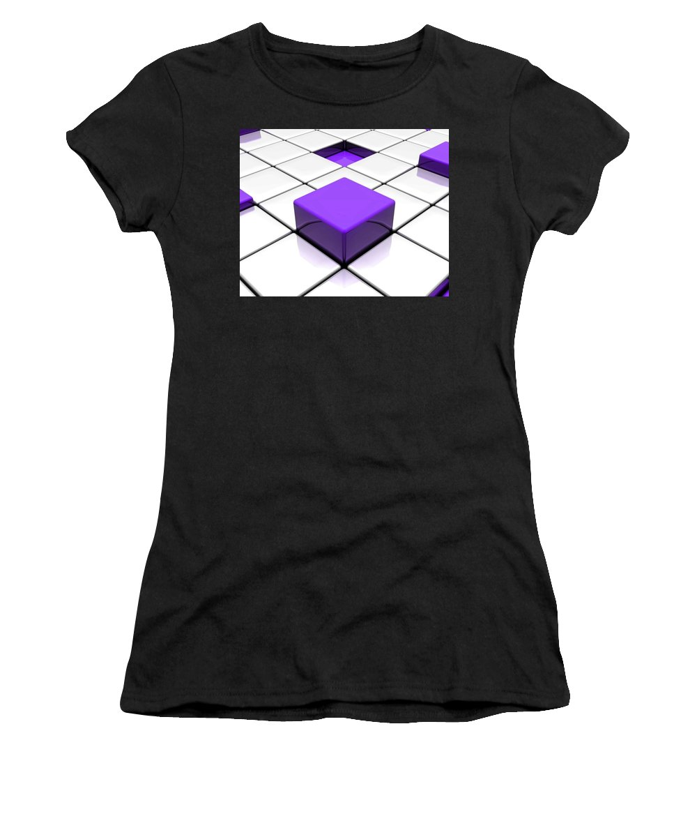 Cube Women's T-Shirt (Athletic Fit) featuring the digital art Cube by Mery Moon