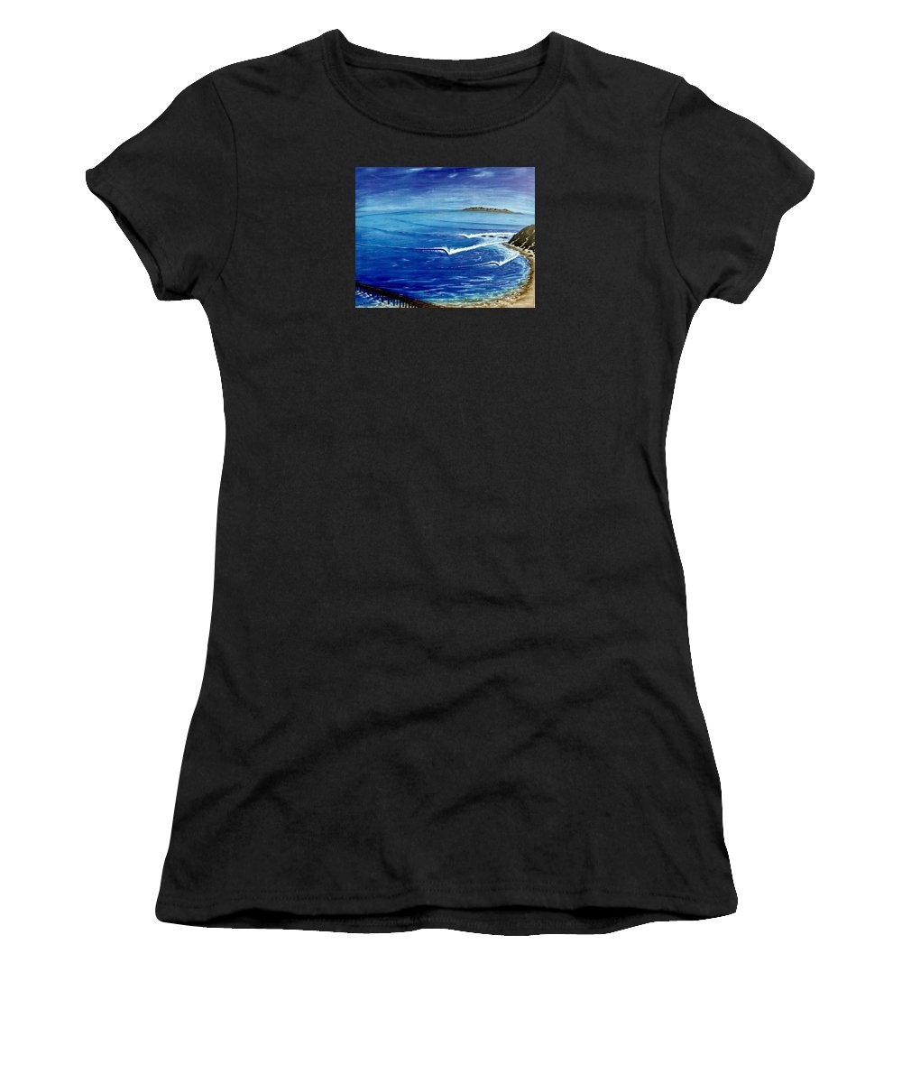 Danapoint Women's T-Shirt featuring the painting Dana Point 1950s 1 by Paul Carter
