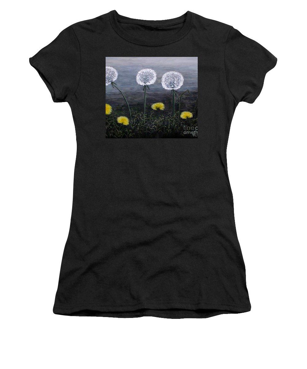 Dandelion Women's T-Shirt featuring the painting Dandelion Family by Judy Kirouac