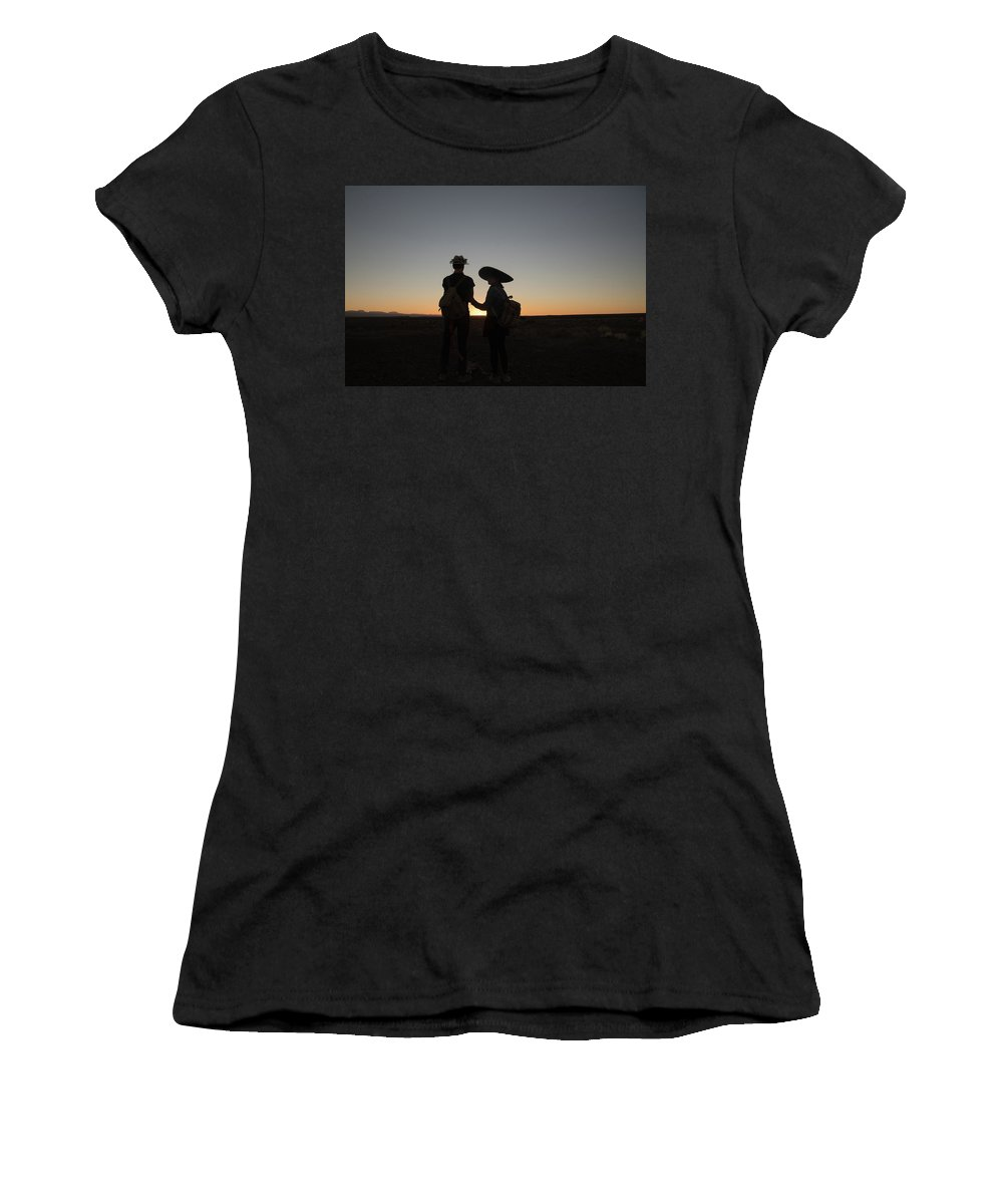Afrika Burn Women's T-Shirt (Athletic Fit) featuring the photograph Desert Sunset by Gareth Pickering