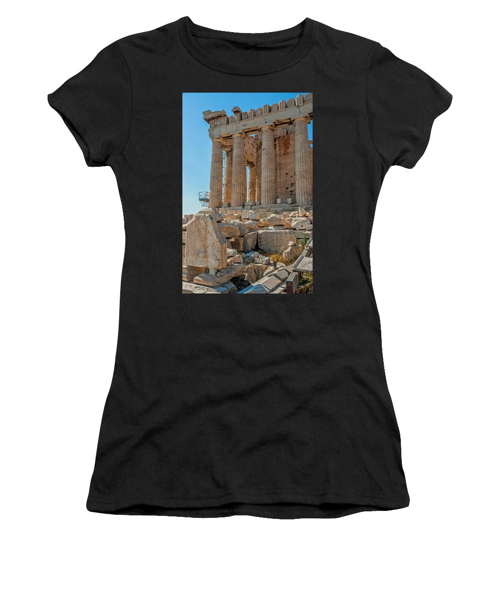 Acropolis Women's T-Shirt (Athletic Fit) featuring the photograph Detail Of The Acropolis Of Athens, Greece by Tom Zeman