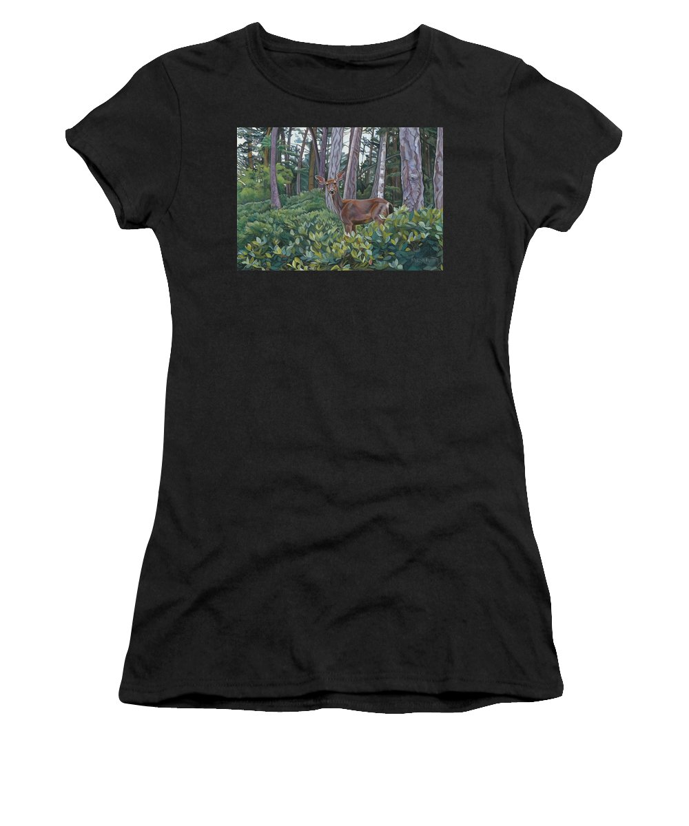 Doe Women's T-Shirt (Athletic Fit) featuring the painting Curious Doe by Marlyn Munter