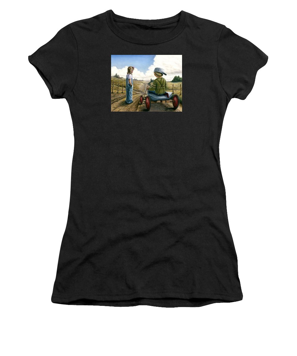 Children Playing Women's T-Shirt (Athletic Fit) featuring the painting Down Hill Racer by Lance Anderson