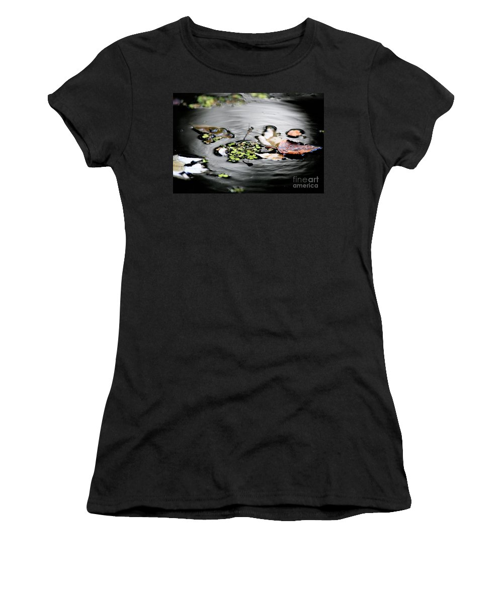 Dragonfly Women's T-Shirt (Athletic Fit) featuring the photograph Dragonfly Above Leaves by Matt Suess