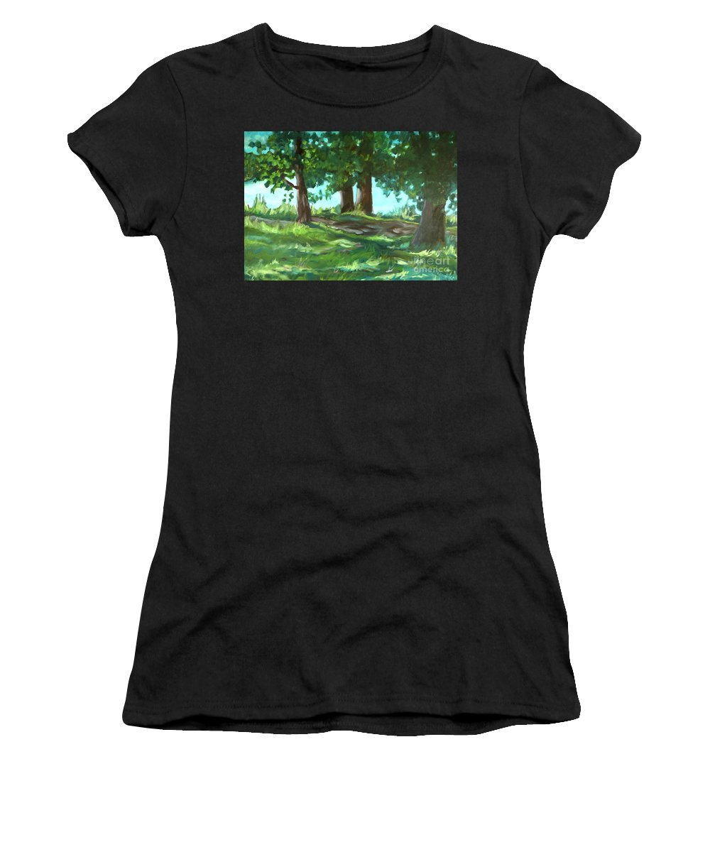 Expressionist Landscape Women's T-Shirt (Athletic Fit) featuring the painting Dreaming On Fellows Lake by Jan Bennicoff