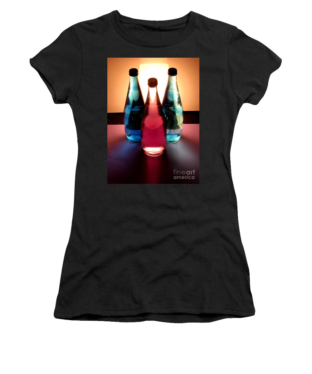 Light Women's T-Shirt (Athletic Fit) featuring the pastel Electric Light Through Bottles by Caroline Peacock