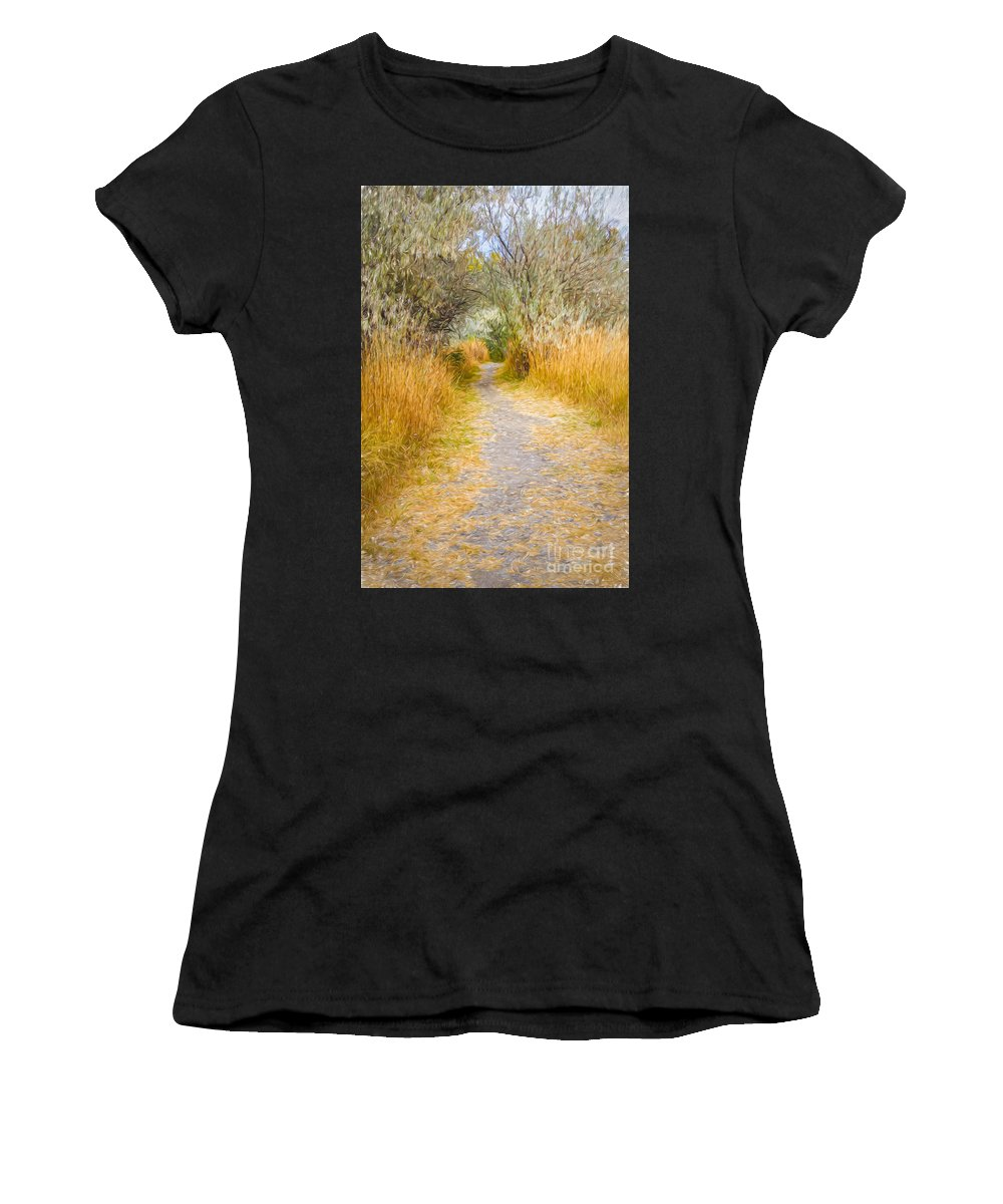 Haynes Point Women's T-Shirt (Athletic Fit) featuring the photograph Fall Pathway 3 by Wendy Elliott