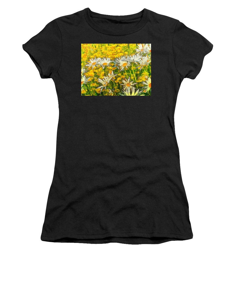 Daisy Women's T-Shirt featuring the painting Field Of Daisies by Claire Bull