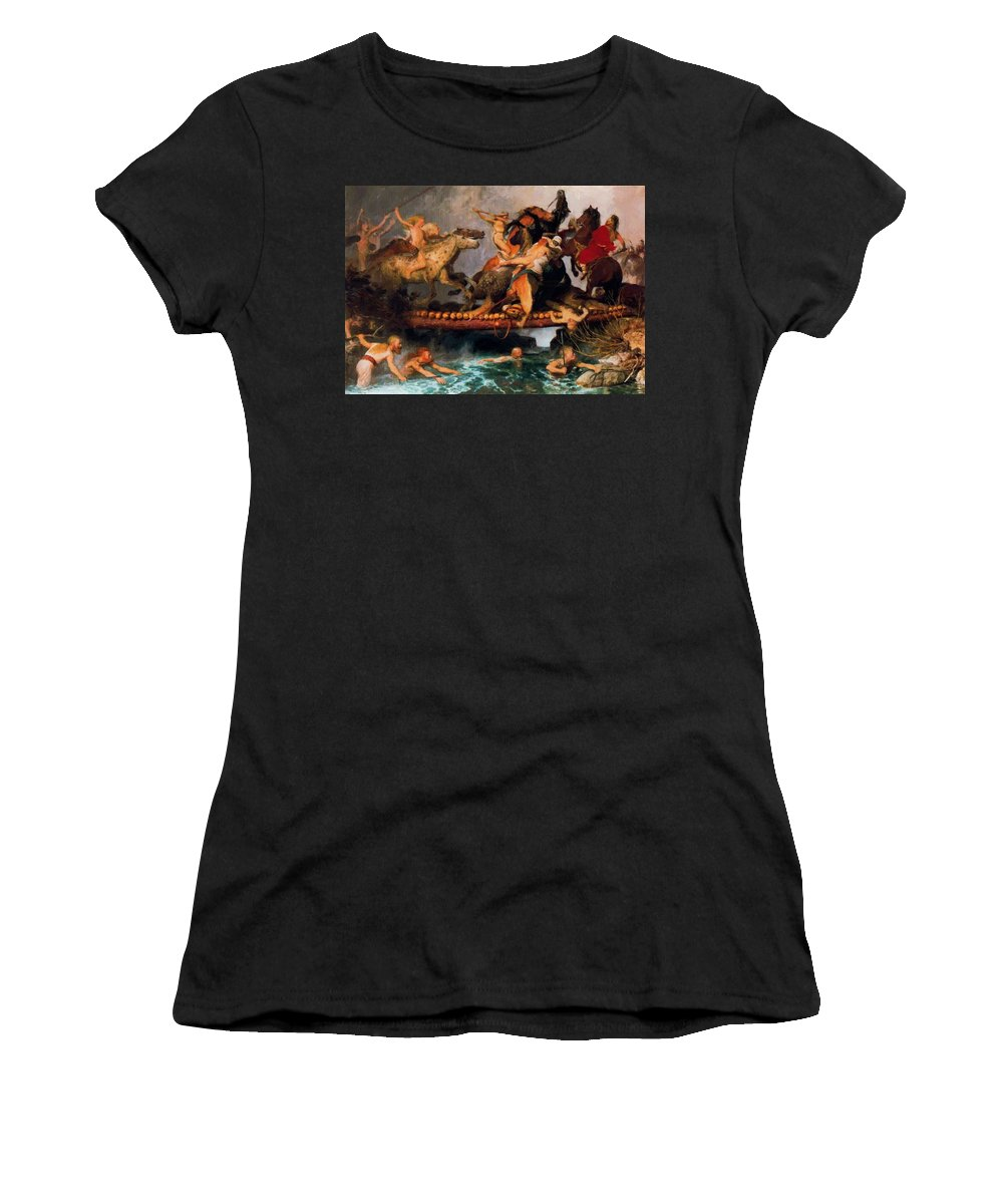 Fighting Women's T-Shirt (Athletic Fit) featuring the painting Fighting On A Bridge by Bocklin Arnold
