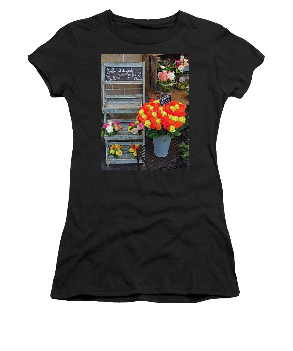 Paris Women's T-Shirt (Athletic Fit) featuring the photograph Flower Shop Display In Paris, France by Richard Rosenshein