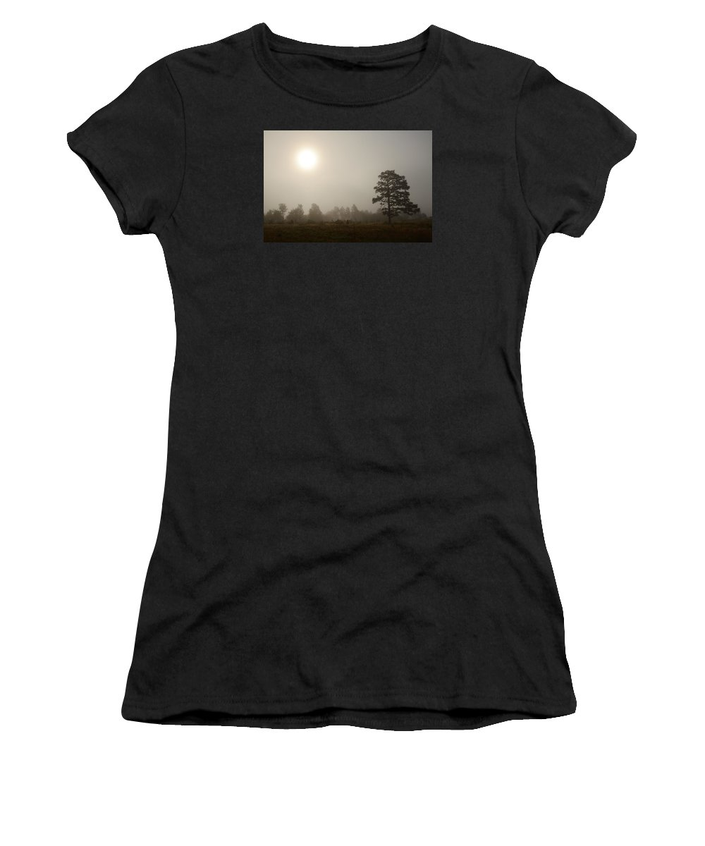Fog Women's T-Shirt (Athletic Fit) featuring the photograph Fog In The Sandhills by Eric Abernethy
