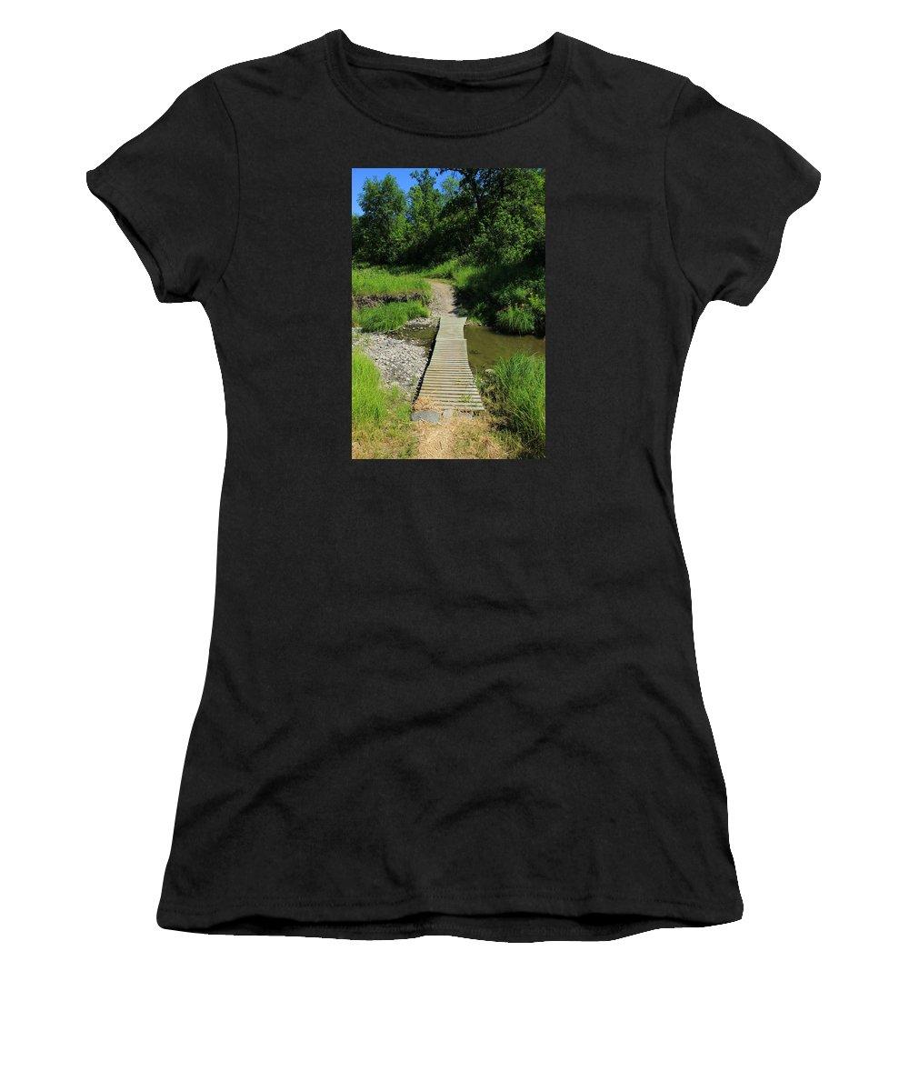 Footbridge Women's T-Shirt (Athletic Fit) featuring the photograph Footbridge Over A Creek by Robert Hamm