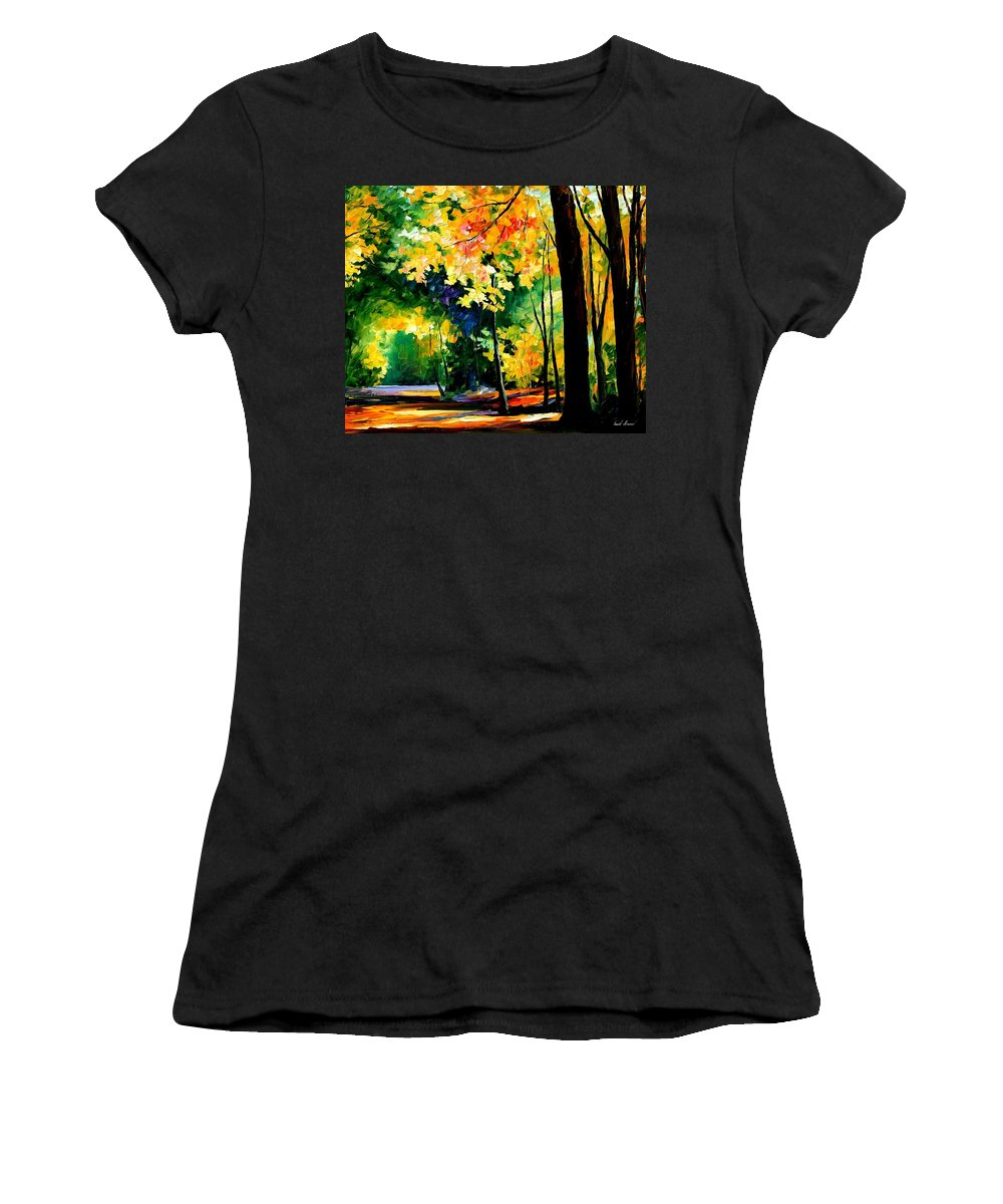 Landscape Women's T-Shirt (Athletic Fit) featuring the painting Forest by Leonid Afremov