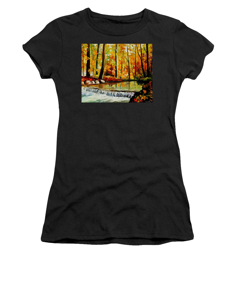 Afremov Women's T-Shirt (Athletic Fit) featuring the painting Forest Stream by Leonid Afremov