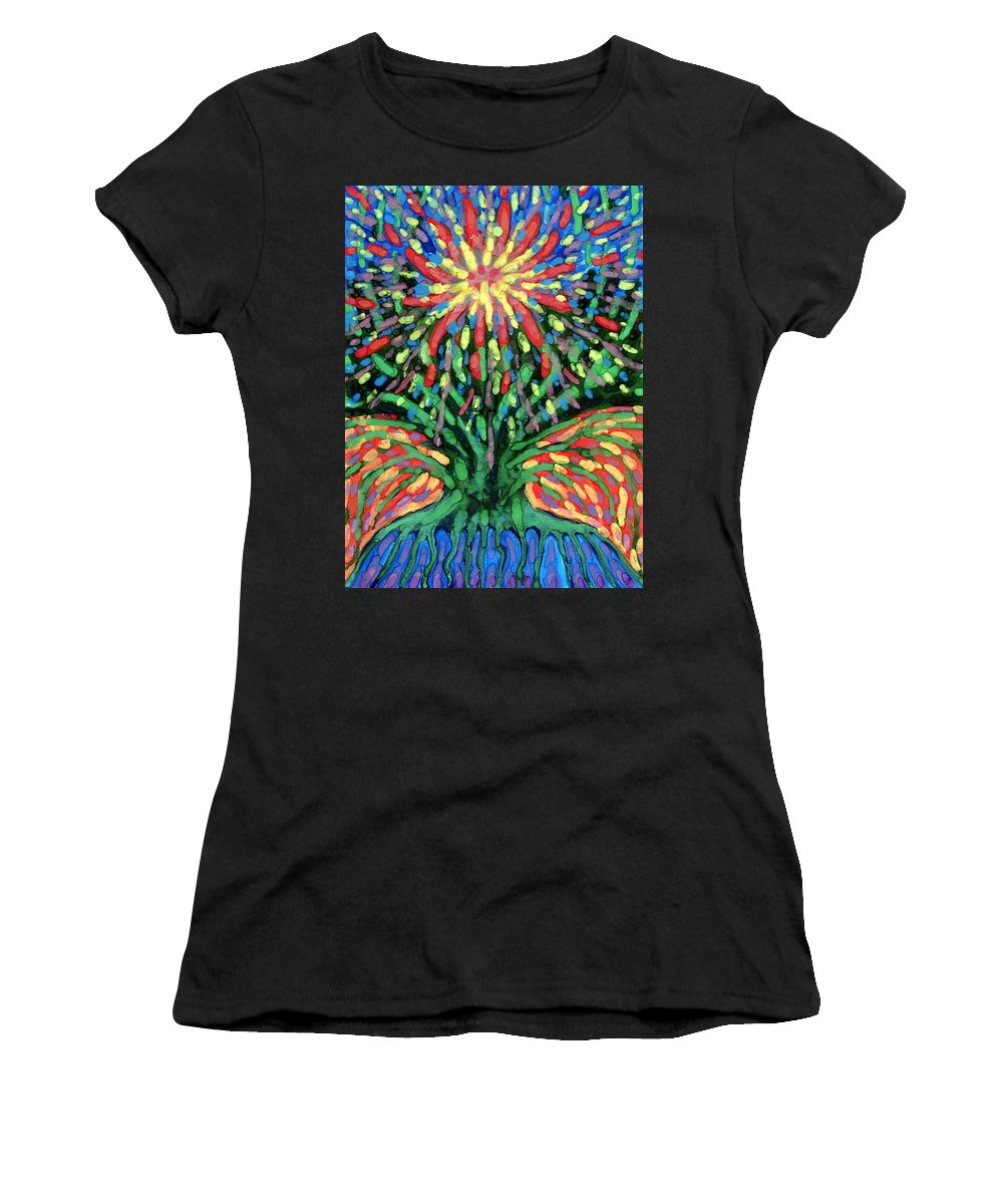 Colour Women's T-Shirt featuring the painting Fountain by Wojtek Kowalski