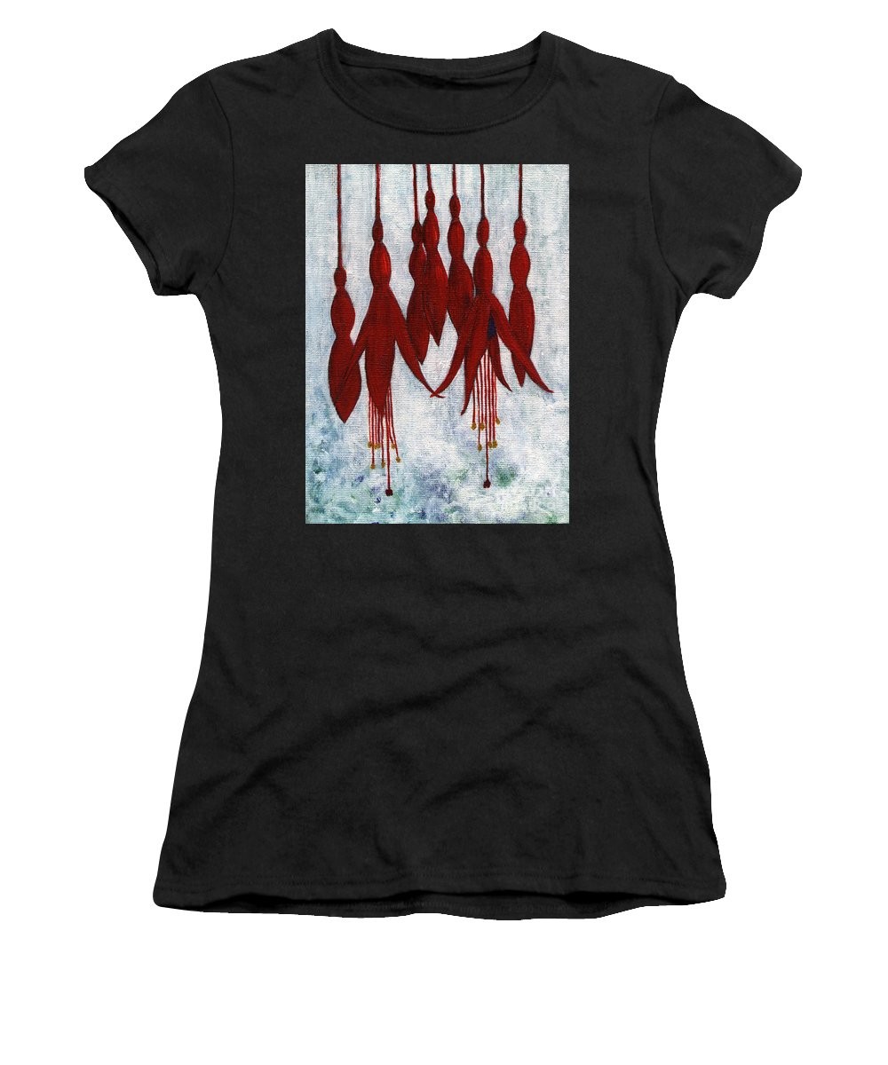 Fuchsia Women's T-Shirt (Athletic Fit) featuring the painting Fuchsia by Barbara Moignard