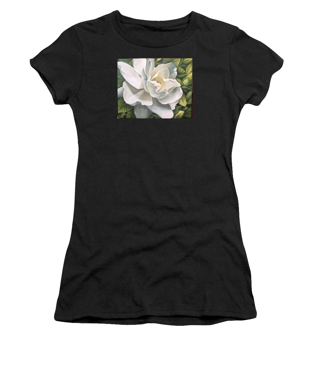 Flower Women's T-Shirt (Athletic Fit) featuring the painting Gardenia by Natalia Tejera