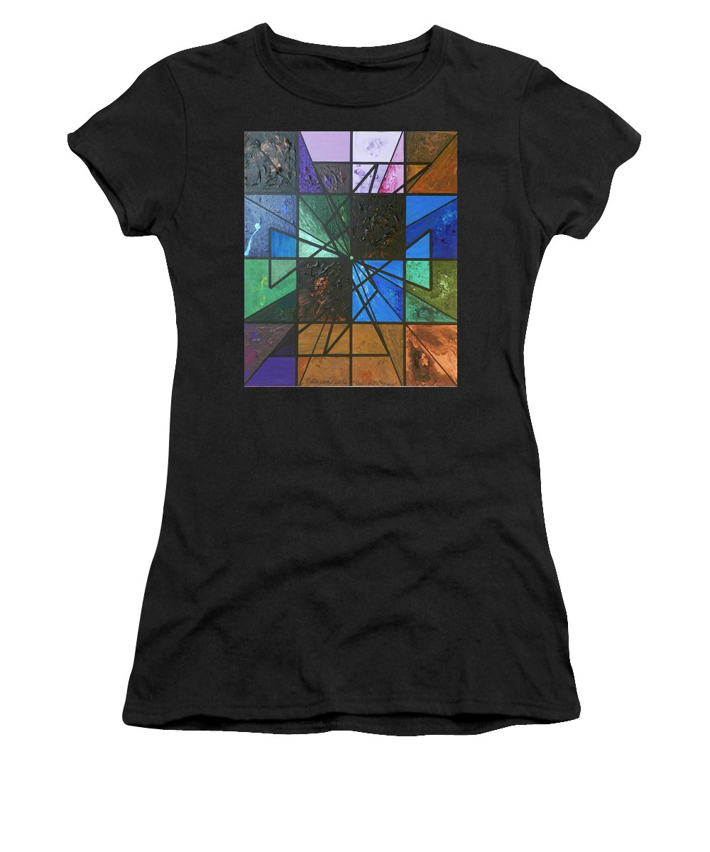 Abstract Women's T-Shirt (Athletic Fit) featuring the painting God Is Not A Thing by Muneer McAdams-Mahmoud