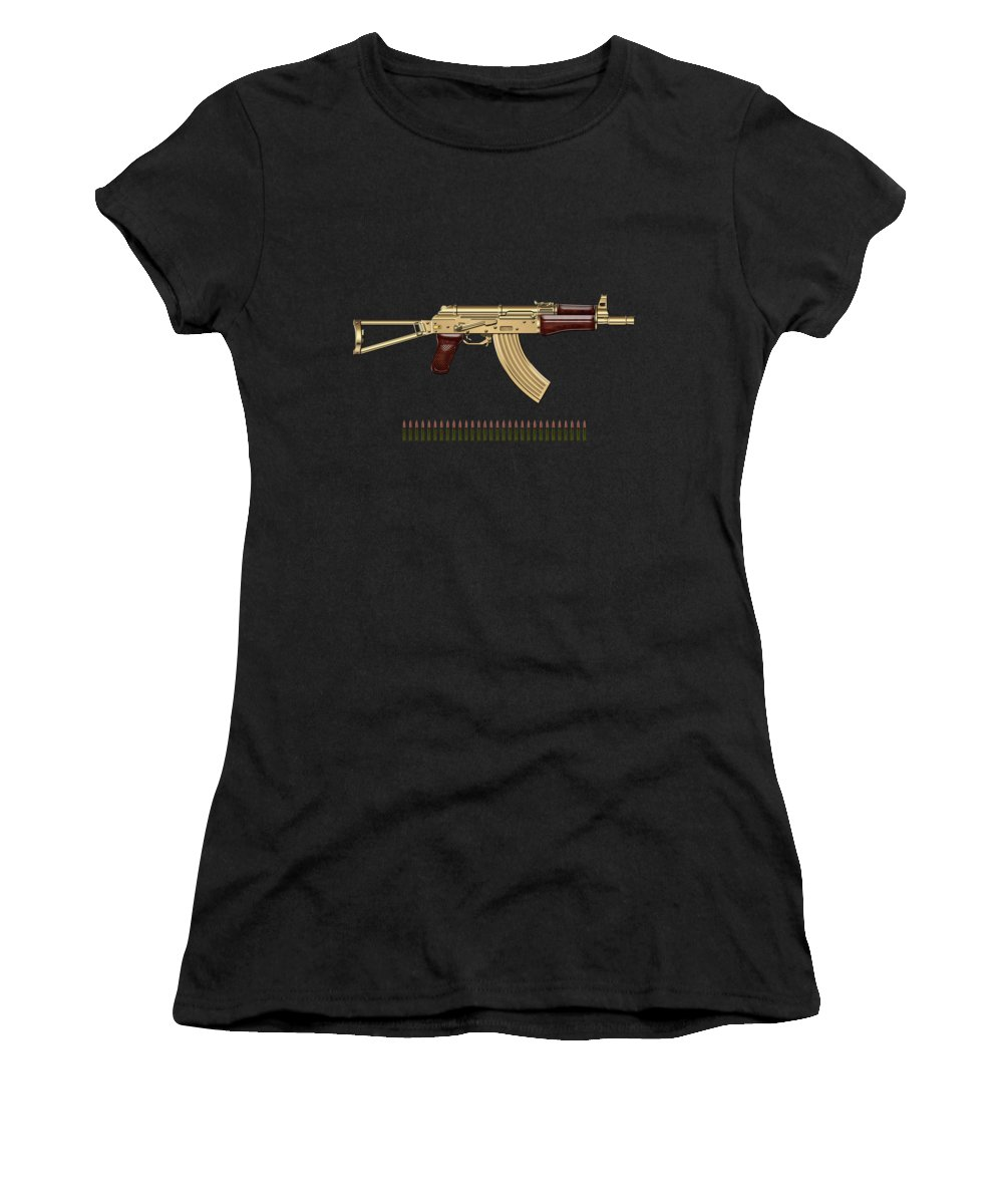 'the Armory' Collection By Serge Averbukh Women's T-Shirt featuring the photograph Gold A K S-74 U Assault Rifle with 5.45x39 Rounds over Red Velvet  by Serge Averbukh