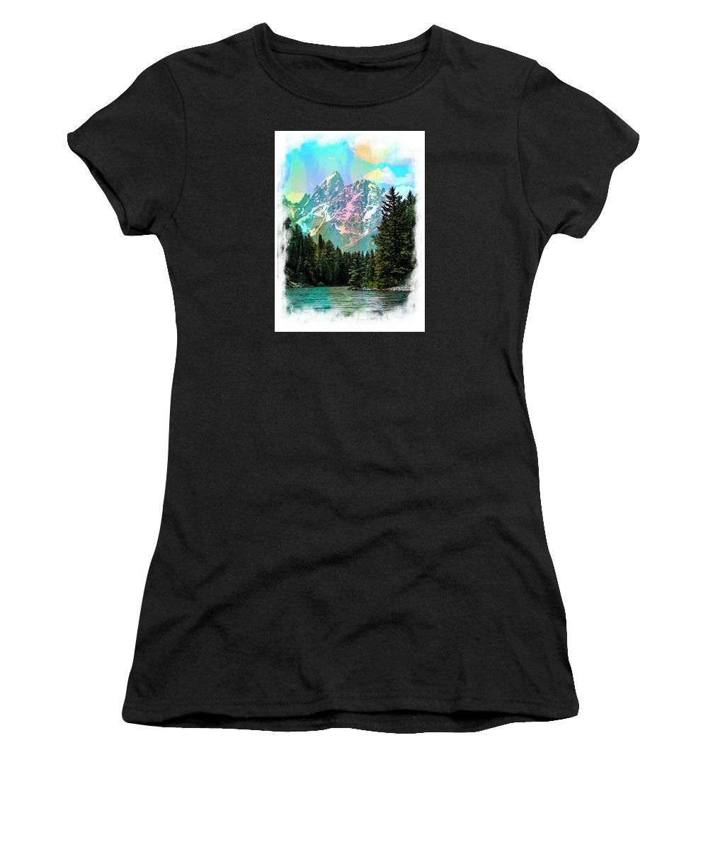 Grand Women's T-Shirt (Athletic Fit) featuring the photograph Grand Tetons From The Snake River by Margie Wildblood