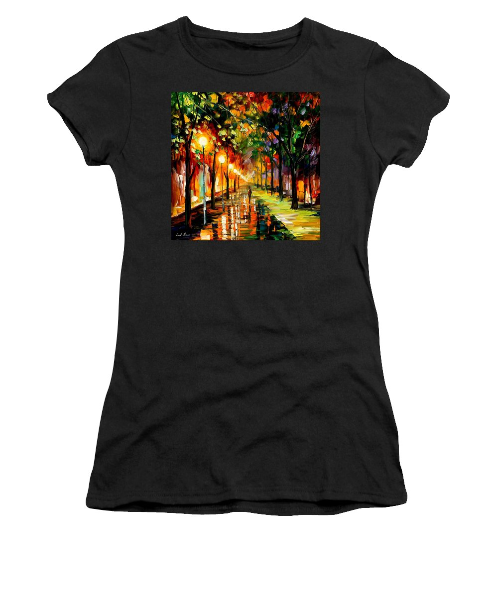 Afremov Women's T-Shirt (Athletic Fit) featuring the painting Green Dreams by Leonid Afremov