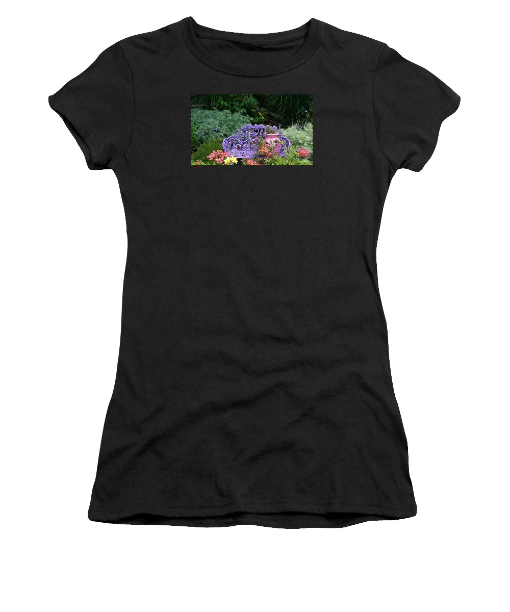 Sunflower Women's T-Shirt (Athletic Fit) featuring the photograph Have A Seat by Deborah Kilty Harrison