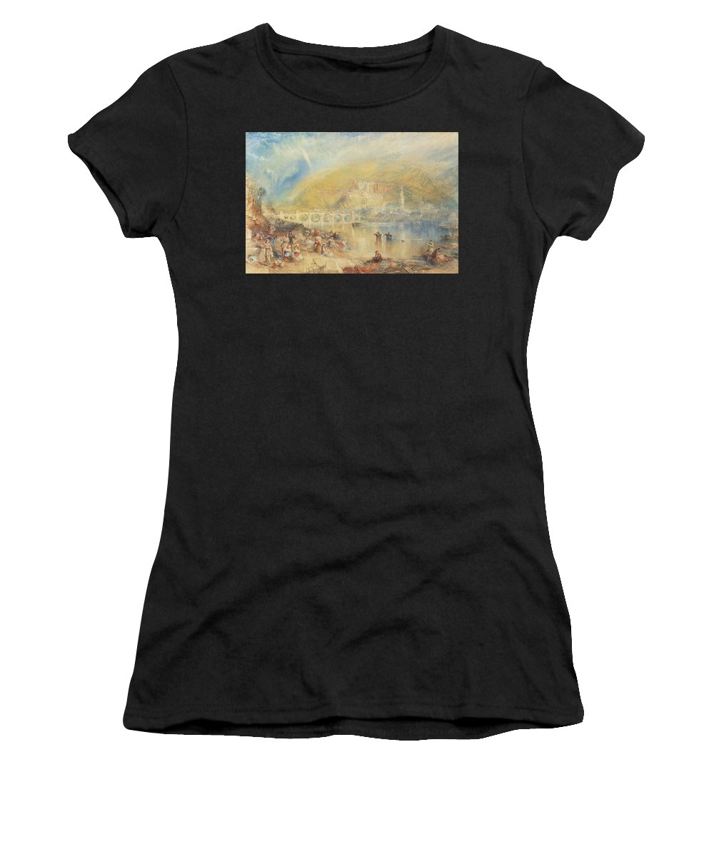 Joseph Mallord William Turner R.a. London 1775 - 1851 Heidelberg With A Rainbow Women's T-Shirt (Athletic Fit) featuring the painting Heidelberg With A Rainbow by MotionAge Designs