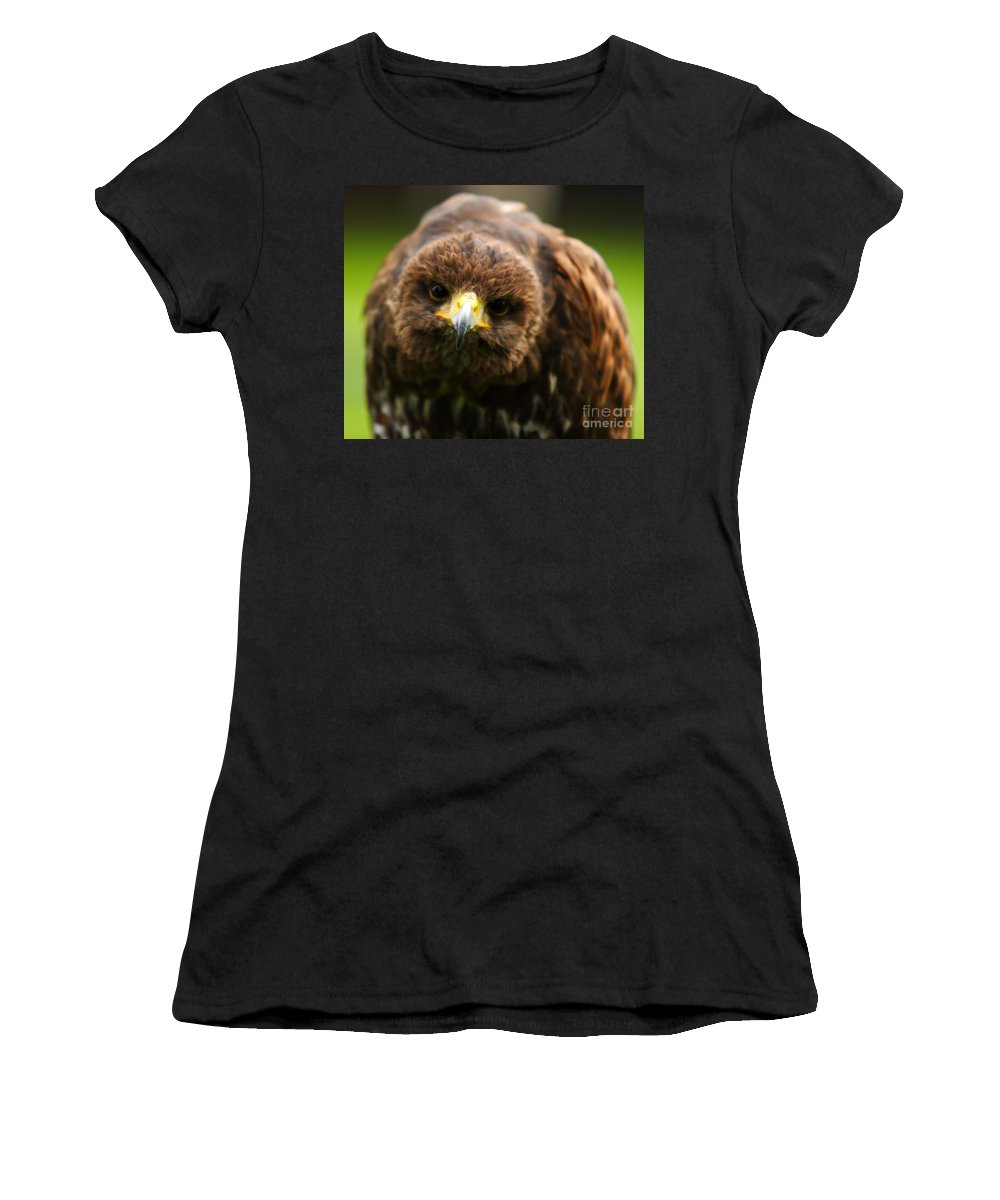 Buzzard Women's T-Shirt (Athletic Fit) featuring the photograph Hello Mate by Angel Ciesniarska