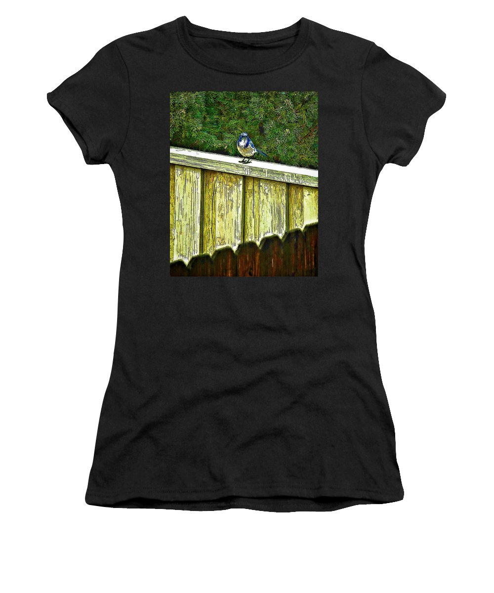 Hiding Women's T-Shirt featuring the photograph Hiding In Safety by Nancy Marie Ricketts