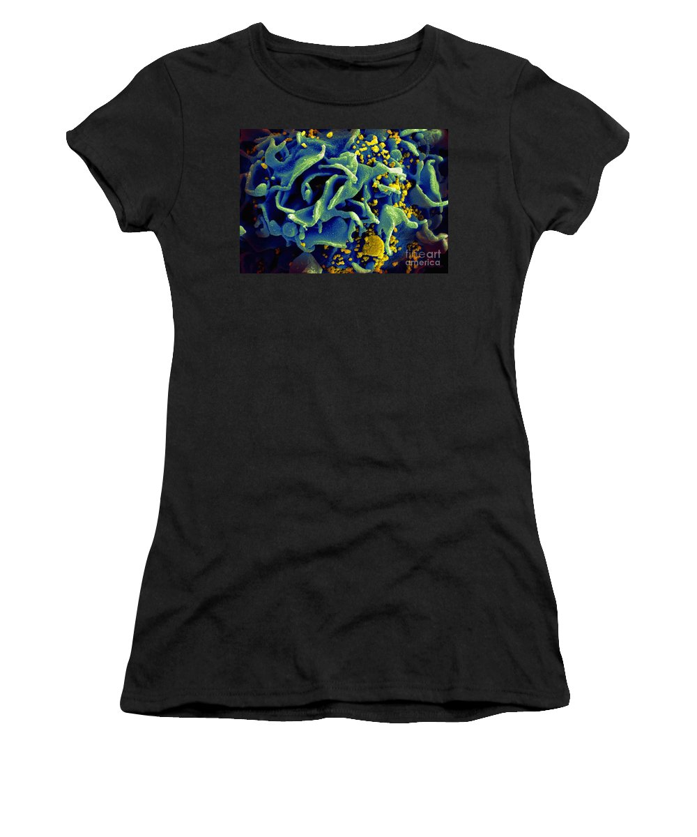 Microbiology Women's T-Shirt (Athletic Fit) featuring the photograph Hiv-infected T Cell, Sem by Science Source