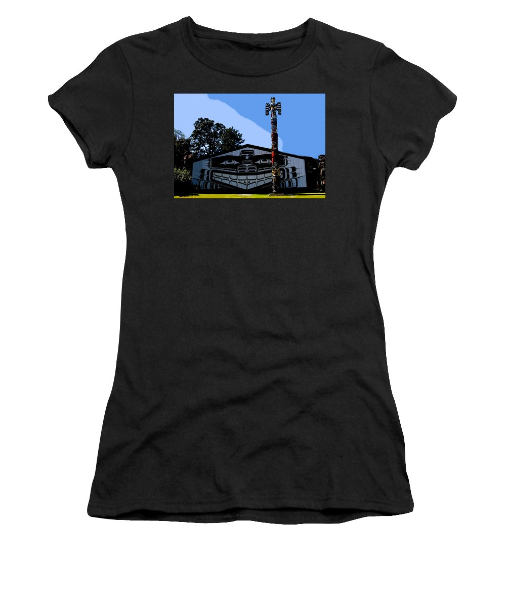 Totem Poll Women's T-Shirt featuring the painting House Of Totem by David Lee Thompson