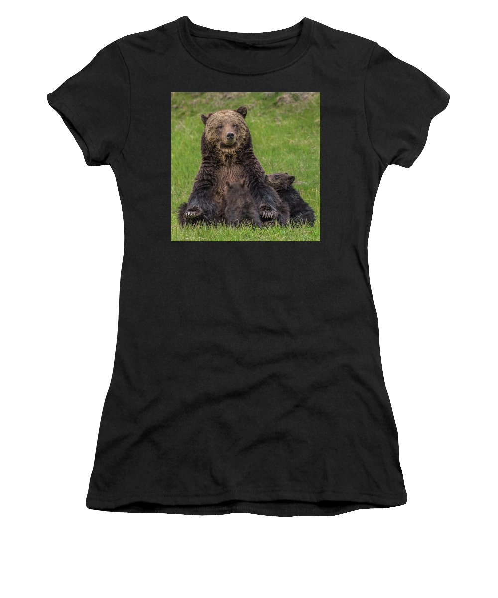 Grizzlies Women's T-Shirt (Athletic Fit) featuring the photograph I Love My Mom by Yeates Photography