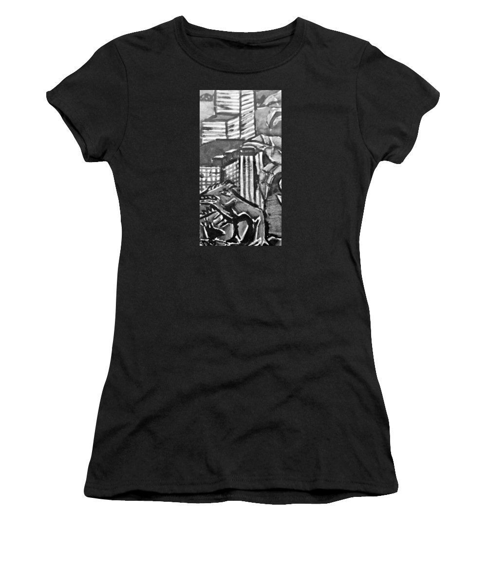 Lizard Women's T-Shirt (Athletic Fit) featuring the painting Iguana City by Jaime Paberzis