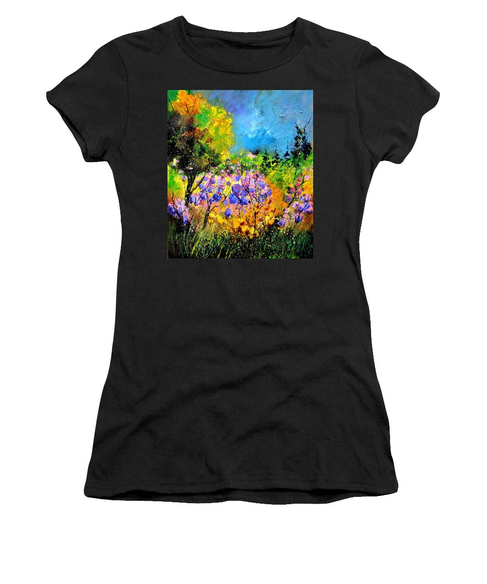 Flowers Women's T-Shirt featuring the painting In The Wood by Pol Ledent