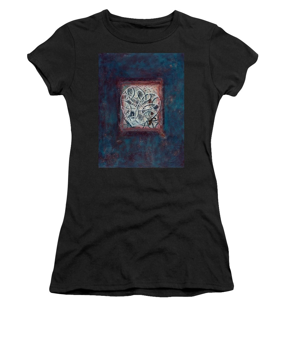 Heart Women's T-Shirt (Athletic Fit) featuring the painting Inspirit - Where Spirit Resides Series by Kerryn Madsen-Pietsch