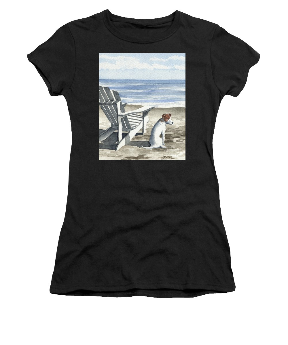 Jack Women's T-Shirt (Athletic Fit) featuring the painting Jack Russel Terrier At The Beach by David Rogers