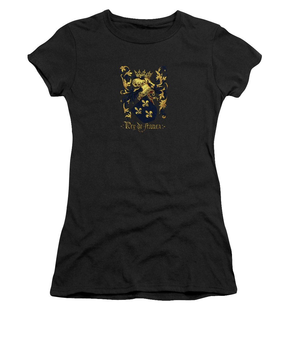 'roll Of Arms� Collection By Serge Averbukh Women's T-Shirt featuring the photograph King Of France Coat Of Arms - Livro Do Armeiro-mor by Serge Averbukh