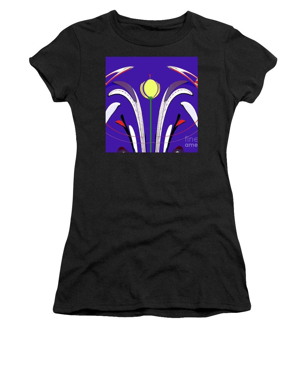 Art Work Women's T-Shirt (Athletic Fit) featuring the digital art Kiss The Flower by Aline Pottier Gama Duarte