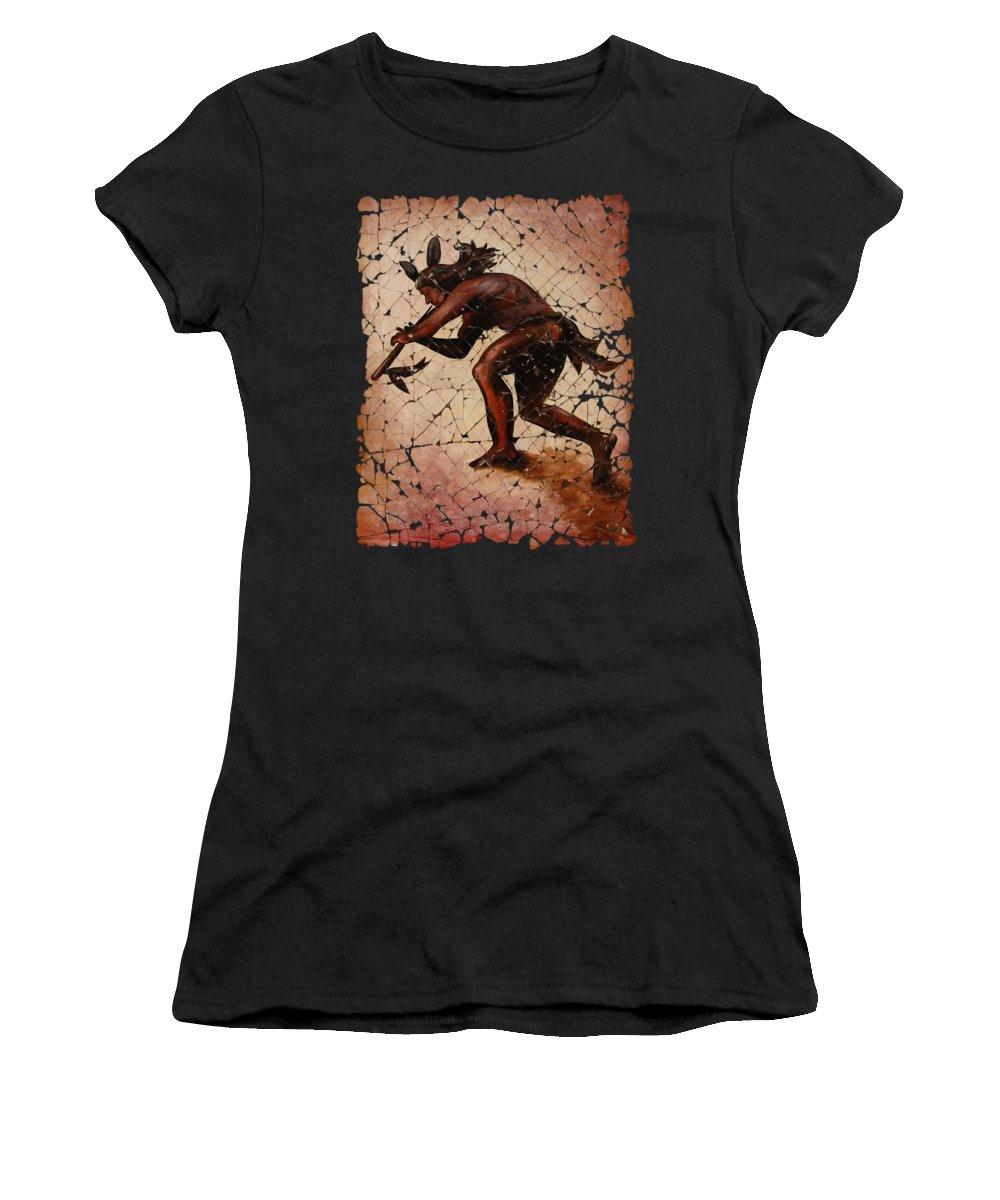 Kokopelli Women's T-Shirt (Athletic Fit) featuring the digital art Kokopelli The Flute Player by OLena Art Lena Owens
