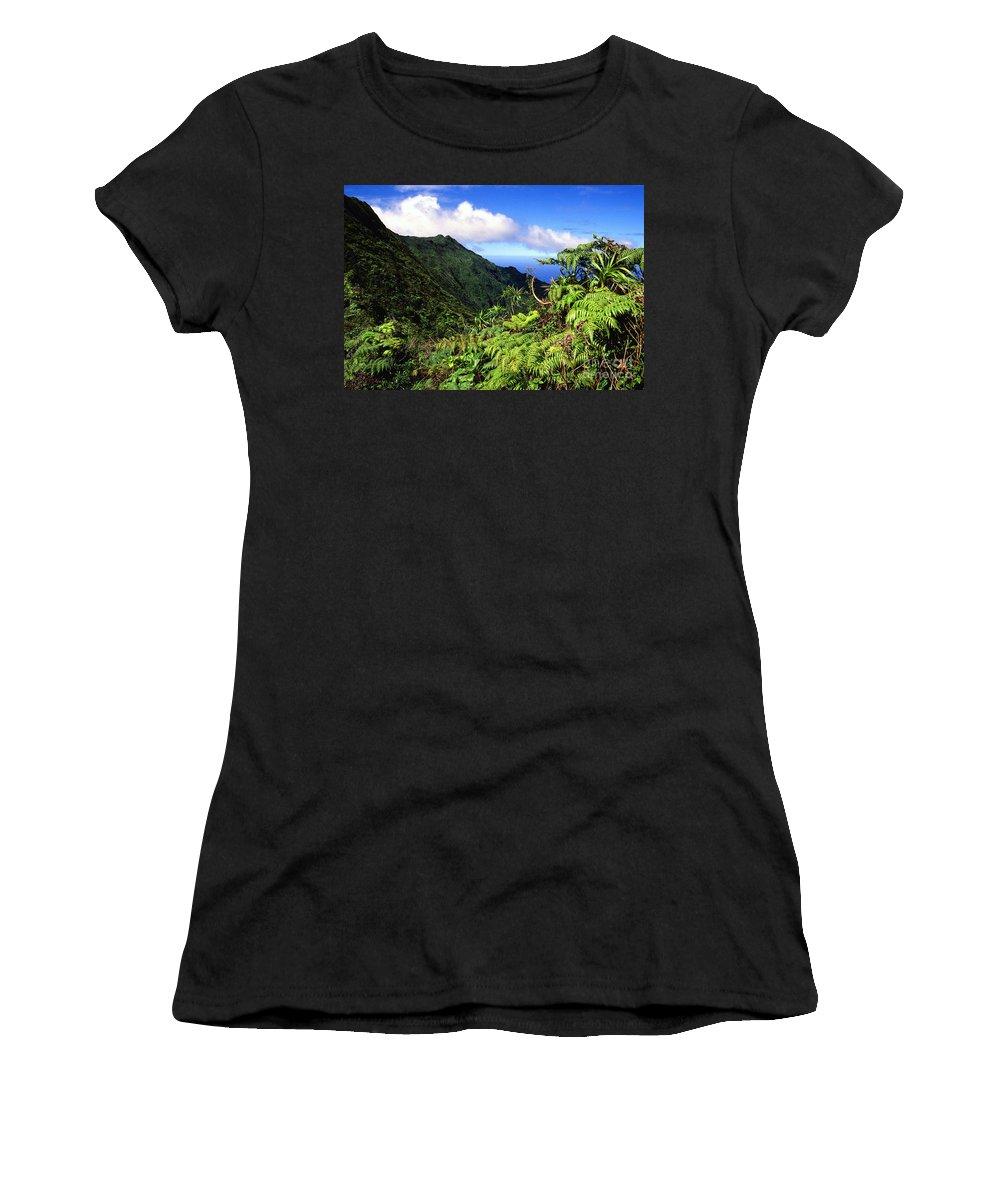 Hapu Tree Ferns Women's T-Shirt (Athletic Fit) featuring the photograph Koolau Summit Trail by Thomas R Fletcher