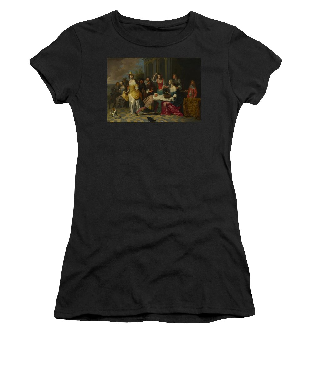 Follower Women's T-Shirt (Athletic Fit) featuring the digital art Ladies And Gentlemen Playing La Main Chaude by PixBreak Art