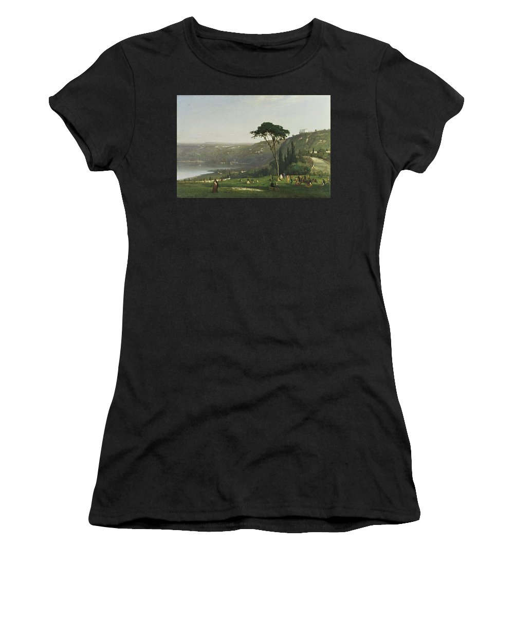 Lake Albano By George Inness Women's T-Shirt (Athletic Fit) featuring the painting Lake Albano by George Inness