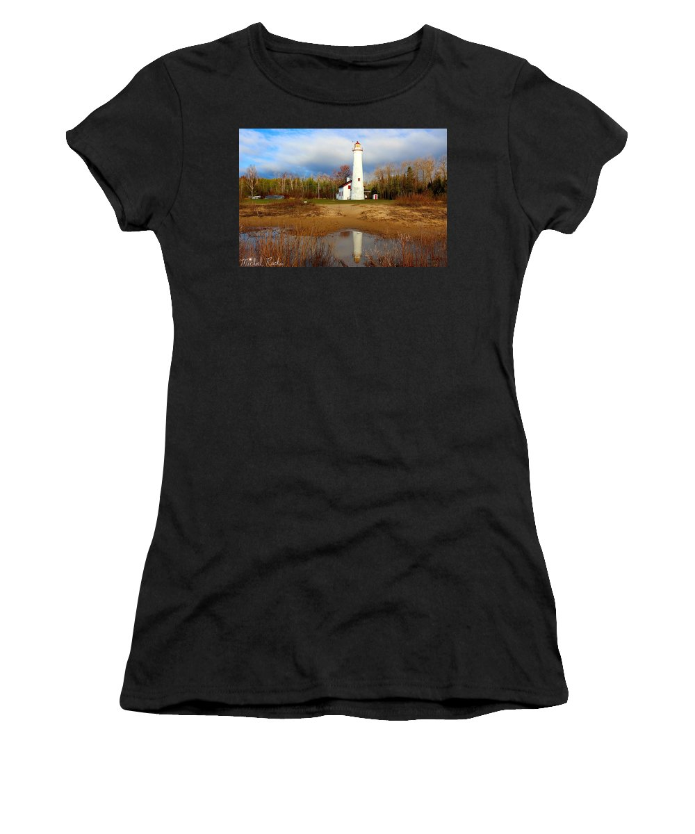 Sturgeon Point Lighthouse Women's T-Shirt (Athletic Fit) featuring the photograph Lake Huron Lighthouse by Michael Rucker