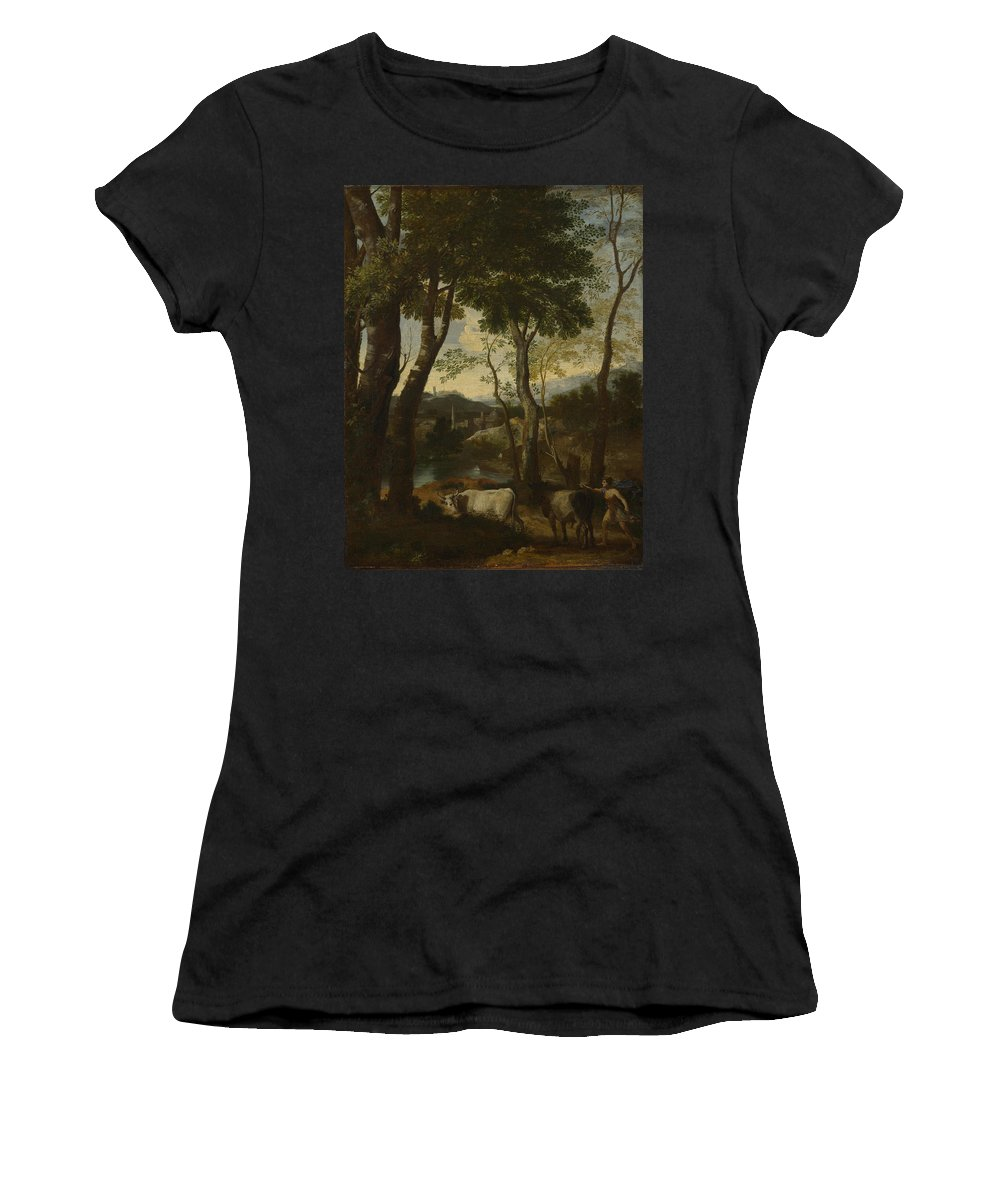 Gaspard Women's T-Shirt (Athletic Fit) featuring the digital art Landscape With A Cowherd by PixBreak Art