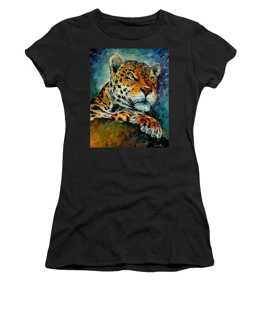 Animal Women's T-Shirt (Athletic Fit) featuring the painting Leopard by Leonid Afremov