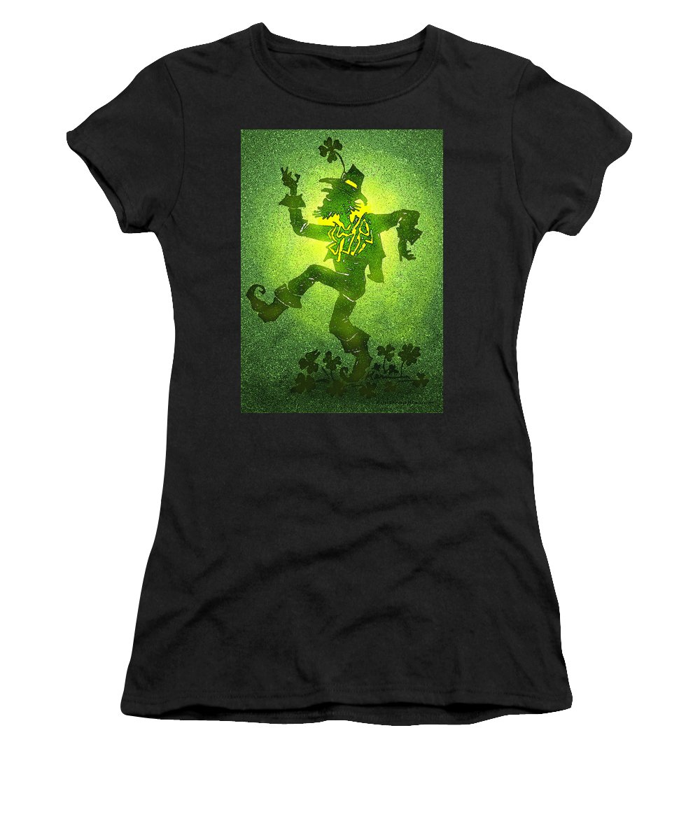 Leprechaun Women's T-Shirt (Athletic Fit) featuring the painting Leprechaun by Kevin Middleton