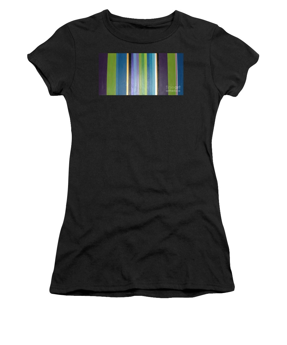 Purple Women's T-Shirt (Athletic Fit) featuring the painting Linea by Maria Bonnier-Perez