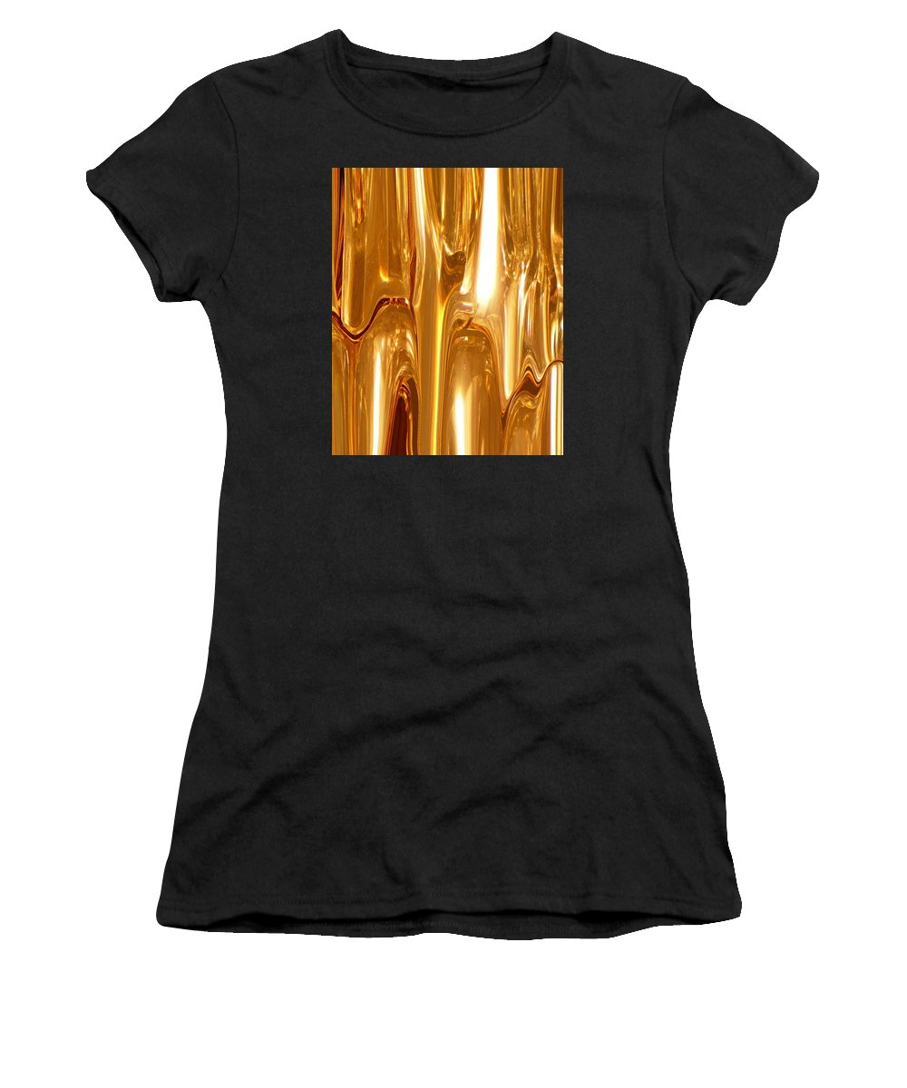 Abstract Women's T-Shirt (Athletic Fit) featuring the digital art Liquid Gold by Florene Welebny