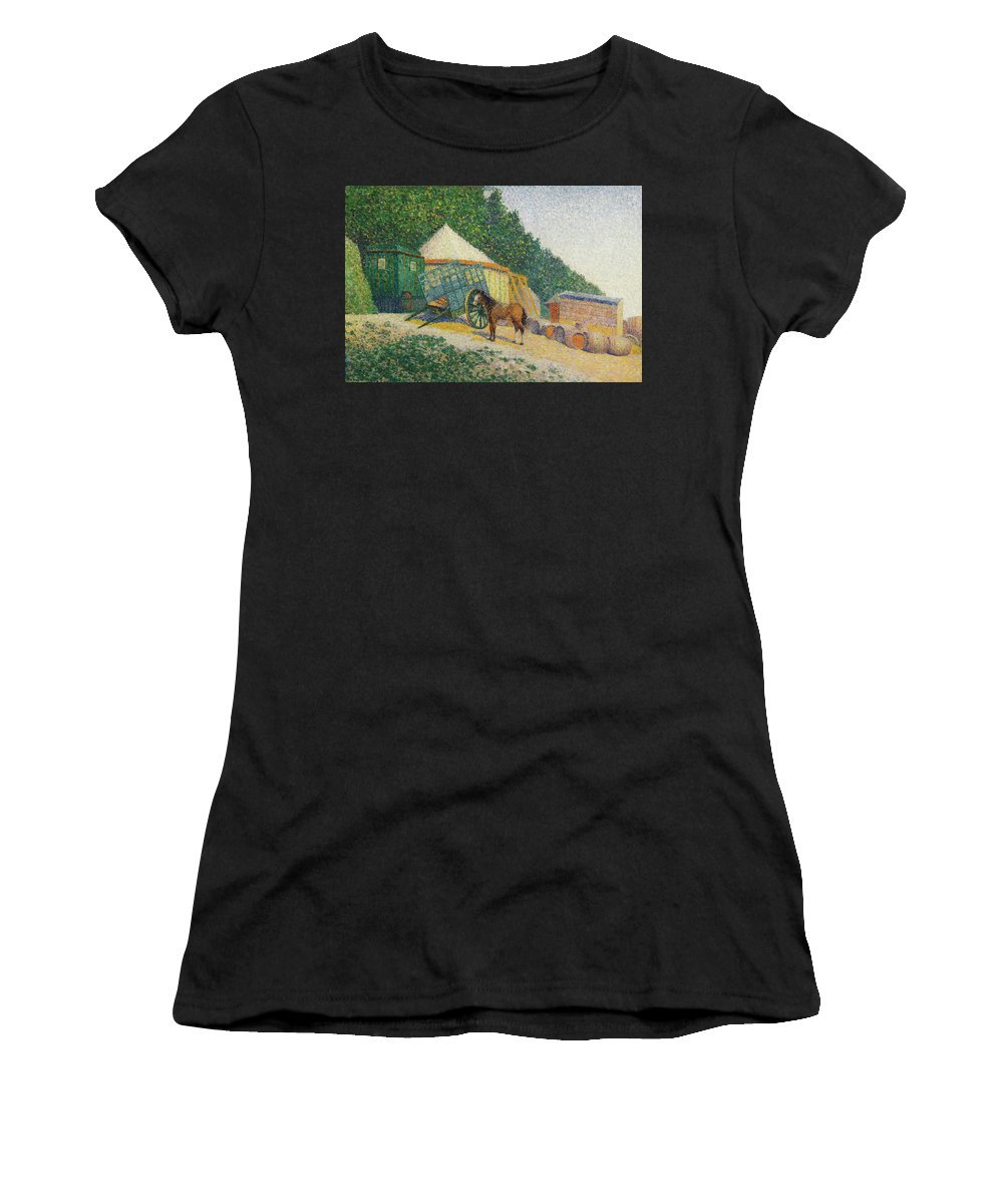 Albert Dubois-pillet Women's T-Shirt (Athletic Fit) featuring the painting Little Circus Camp by Albert Dubois-Pillet